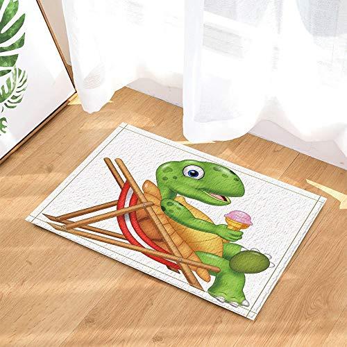 JHTRSJYTJ Tumbona de Helado de Tortuga Animal de Dibujos Animados Alfombrilla de baño Antideslizante Impresa en HD,Alfombrilla Interior,Lavable de 40×60cm,Esencial para la Familia