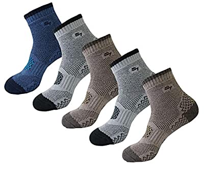 SEOULSTORY7 5pack Men's Full Cushion Mid Quarter Length Hiking Socks 5Pair Brown2P/Gray2P/Blue1P Ankle Length XL2