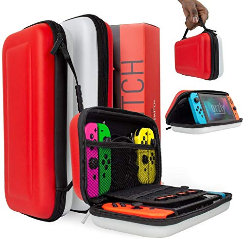 Orzly case for Nintendo Switch - Portable Travel carry case with storage for Switch console games & accessories [Red & White edition]