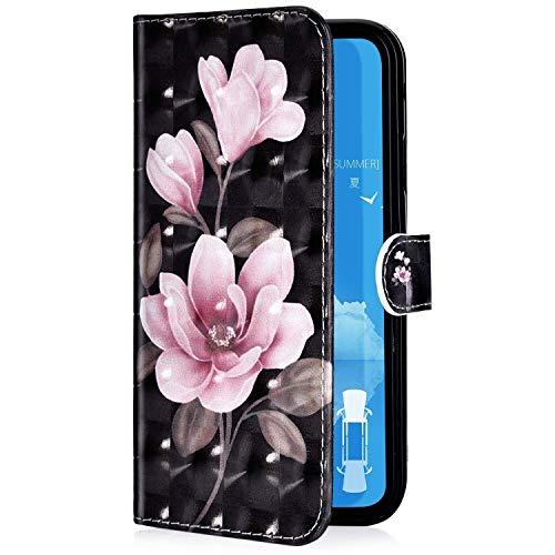 Uposao Kompatibel mit Samsung Galaxy A10 Handyhülle Glänzend 3D Bunt Bling Glitzer Muster Leder Tasche Schutzhülle Brieftasche Handytasche Lederhülle Klapphülle Case Flip Cover,Rosa Blumen
