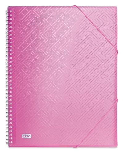 ELBA A4 Plastikspirale transluzent Pink Sichtbuch mit 40 Plastikspirale Hüllen