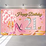 Rose Gold 21st Birthday Backdrop Twenty-One Years Old Birthday Photography Background Party Decorations Shining Diamond Party Photo Booth