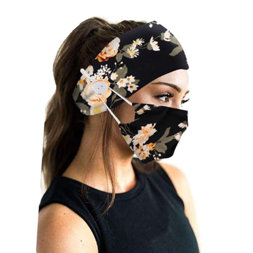 Colaxi Stretch Facric Headband And Mask Set Headband with Button Nurses Turban Headwrap - Black Flower, 23x12cm