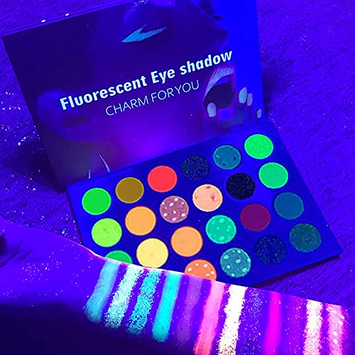 24 Colors Glow in the Dark Glitter Eyeshadow Palette, Fluorescent Neon Eye Shadow, Pigmented Bright Colorful Matte Shimmer Blue Red Orange Purple Green Halloween Makeup Palettes Cosmetics