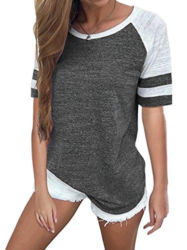 Famulily Damen-Baseball-T-Shirt, langärmlig, Rundhalsausschnitt, Colorblock, gestreiftes Oberteil - Grau - Mittel