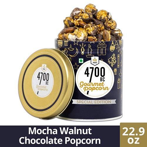 4700BC Mocha Walnut Chocolate Popcorn, Tin, 22.9 oz (Chocolate) | Gourmet Popcorn | Popcorn Tin