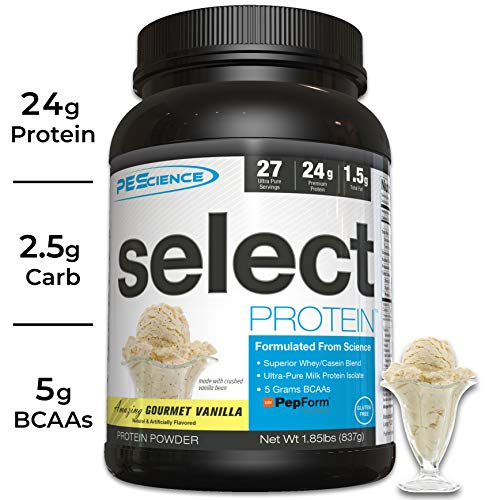 PEScience Select Low Carb Protein Powder, Vanilla, 27 Serving, Keto Friendly and Gluten Free