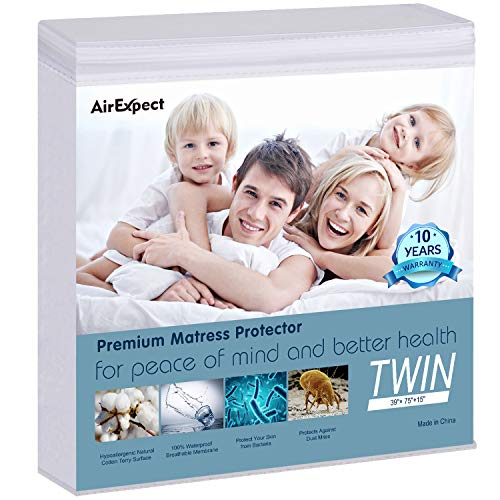 AirExpect Waterproof Mattress Protector Twin XL Size 100% Cotton Hypoallergenic Breathable Mattress...