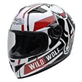 NZI 150200G607 Must Wild Wolf Casco de Moto, Color Blanco, Negro y Rojo, Talla 54 (XXS)