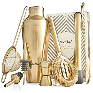 VonShef Premium Brushed Gold Parisian Cocktail Shaker Barware Set in Gift Box with Recipe Guide, Cocktail Strainers, Twisted Bar Spoon, Jigger, Muddler and Pourers