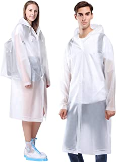 Aoymay Portable EVA Rain Ponchos for Women Men Unisex Reusable Hooded Rain Coat Jacket