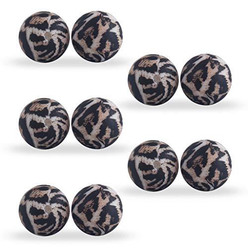JIUYECAO Cuentas de silicona con estampado de leopardo de 12 mm, leopardo, 10 unidades de 12 mm de cuentas de silicona con estampado de leopardo, accesorio para pulsera