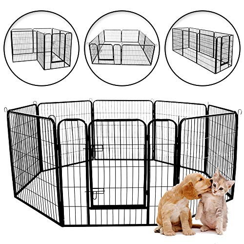 Meihua Dog Playpen Heavy Duty Foldable Metal Pet Pens,Dog Exercise Fence Outdoor Indoor