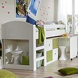 Wimex Hochbett Sunny, inkl. Schreibtisch, Liegefläche 90 x 200 cm, Weiß/ Absetzung Apfelgrün