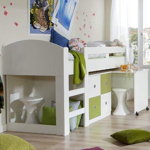 *Wimex Hochbett Sunny, inkl. Schreibtisch, Liegefläche 90 x 200 cm, Weiß/ Absetzung Apfelgrün*