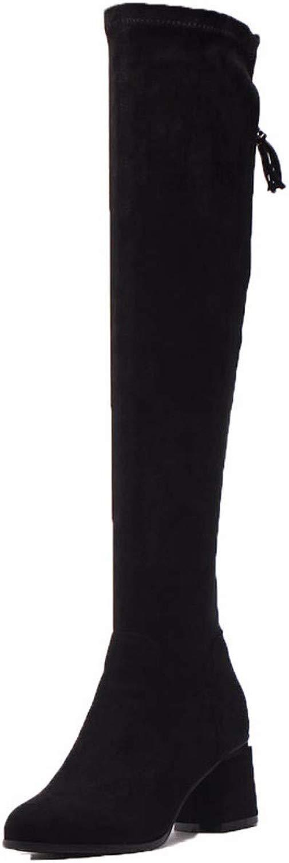 KPHY donnasautope Gli Stivali con Alto 6Cm Ginoc a Spesso Indicato Elastica Velvet Wild Sottili Gambe Un Paio di Stivali.