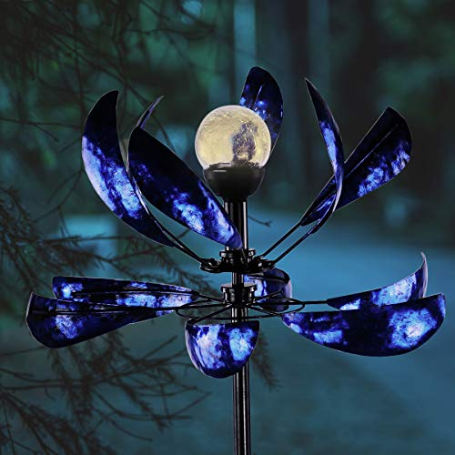 hourflik Solar Wind Spinner 3D Kinetic Wind Spinners Outdoor Metal Gardening Decorations with Multi-Color LED Lighting by Solar Powered Glass Ball with Lawn Ornament Wind Mills