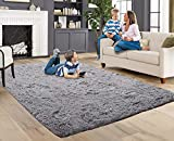 ACTCUT Super Soft Indoor Modern Shag Fur Area Rugs Fluffy Rugs Anti-Skid Shaggy Kids Rug Dining Room Home Bedroom Carpet Floor Mat 4 x 5 Feet, Grey