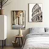YCHND Nórdico Italia Ciudad Roma Arquitectura Paisaje Lienzo Pintura Póster Impresión Arte de la Pared Imagen Moderna Sala de Estar Decoración del hogar 40x60cmx2 Sin Marco