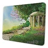 Mauspad, Mauspad, rechteckig, Pavillon auf der Spitze eines Hügels mit Steintreppen und Blumen Rutschfest, Gummi, Bürozubehör, Schreibtischdekoration, Laptop-Mauspad