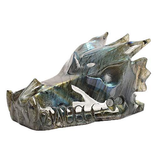 2 inch Natural Quartz Crystal Sculpture Dragon Head Skull Tiger's Eye Rose Quartz Obsidian Lapis Lazuli Crystal Healing Reiki Crystal Artware (Labradorite)