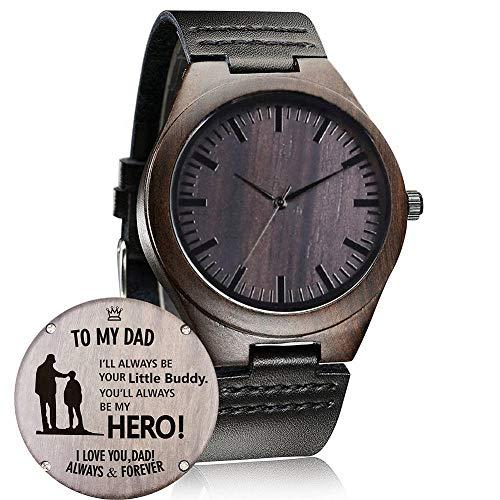 Reloj de madera con grabado personalizado, informal, hecho a mano, para hombres, mujeres, marido, esposa, novia, novio, padre, madre, hijo, familiar, amigos