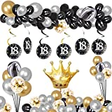 18TH Birthday Party Decorations Kit,Black Gold Latex Ballon, Foil Balloons,Confetti Balloons Latex Balloons, Perfect 18 Years Old Party Supplies,for Boys Girls Party Decoration