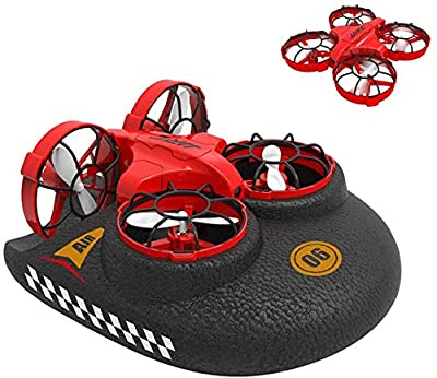 Mini Drone for Kids, ONXE 3-in-1 Sea-Land-Air Mode Switchable RC Pocket Quadcopter, Best Remote Control Toy for Boys and Girls (Red)