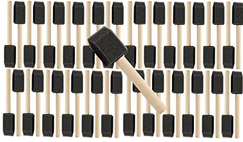 """1"""" Wooden Handle Poly Foam Brushes 48 PC Set All 1"""". Great for Crafts, Touch ups, Art, Paints, Stains, ((1PK) 1"""" Wooden Handle Poly Foam Brushes 48 PC Set)"""