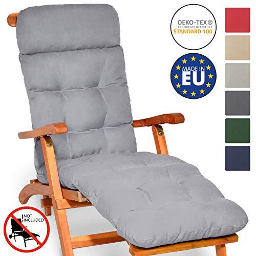 Beautissu Auflage für Deckchair Flair DC 200x50x8 cm Liege-Stuhl Polster-Auflage mit Schaumflockenfüllung Hell-Grau erhältlich