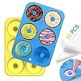 Aoibeely Molde para Donut de Silicona, 2 Piezas molde donuts,10 Piezas Bolsas de Pastelería, Solía hacer para Pasteles, Galletas, Bagels, Muffins