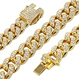 Men's 12MM 14MM 20MM Chains 18K Gold Plated CZ Fully Iced Out Miami Cuban Link Necklace