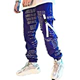 XYXIONGMAO Purple Hip Hop Streetwear Pant Jogger Fashion Cargo Techwear Mens Tactical Japanese Tokyo Woman Pants (Purple, L)