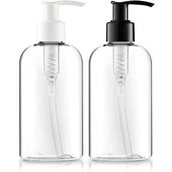 BAR5F Empty Lotion Bottles 8 Oz. Crystal Clear Short Round Bottles SET, Black & White Pump, Great for - Creams, Body Wash, Hand Soap, Self-Tanners, Bronzers and Massage Lotion