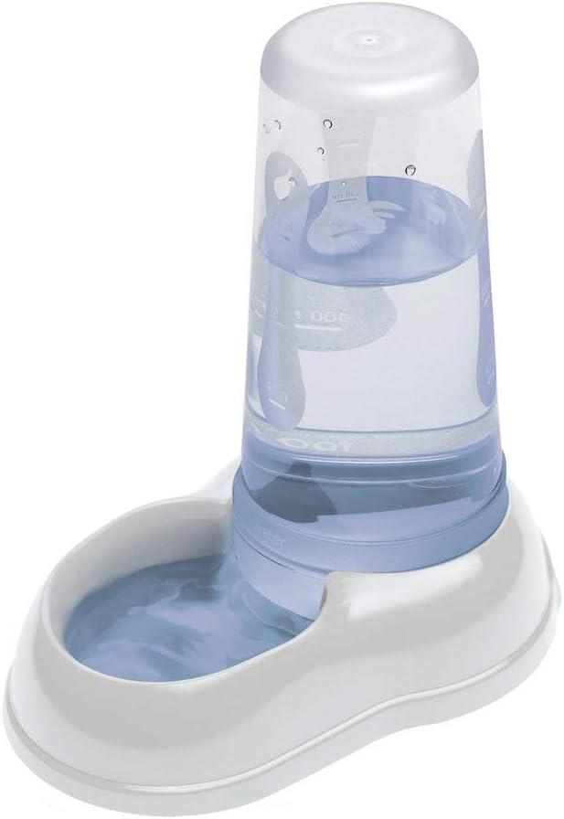 Ferplast Dispensador de Comida o Agua para Perros y Gatos AZIMUT 600, croquetas, Comida Seca o Agua, 0,6 L, Plástico, Depósito Transparente, Base Antideslizante, 12,5 x 19 x h 19,5 cm Blanco