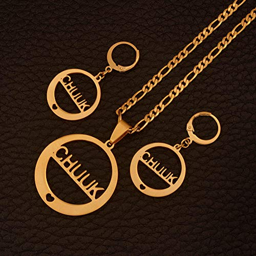 NCDFH Gold Color t Necklaces Earrings Sets for Women Jewelry Party Gifts/Can t Change Name#J0040 45cm by 3mm Chain