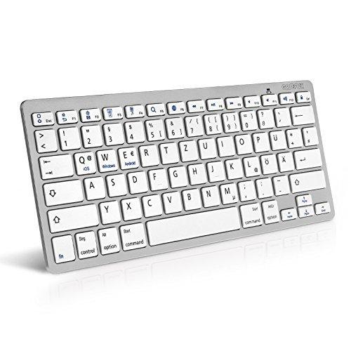 Caseflex - Teclado inalámbrico Bluetooth para Dispositivos iOS, iPad, Android, Mac y Windows, Color Plateado y Blanco