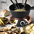 Artestia Electric Ceramic Fondue Set with 6 Fondue Forks