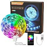 LED Strip,KooPower RGB LED Streifen Farbwechsel Led Lichterkette 5M Flexible APP-Steuerung LED Bänder Strips Bluetooth Kontroller Sync zur Musik,Anwendung für Schlafzimmer,Zuhause,TV,Feriendekoration