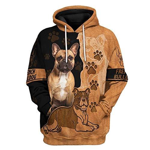 Love French Bulldog All Over Print 3D Unisex Graphic Novelty Hoodie, Hooded Sweatshirt, Zipper Hoodie, T-Shirt for Men Women.