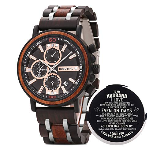 BOBO BIRD S18-1 Personalized Engraved Wood Watch Customized Wooden Watches for Husband Boyfriend Birthday Anniversary (Husband-1)