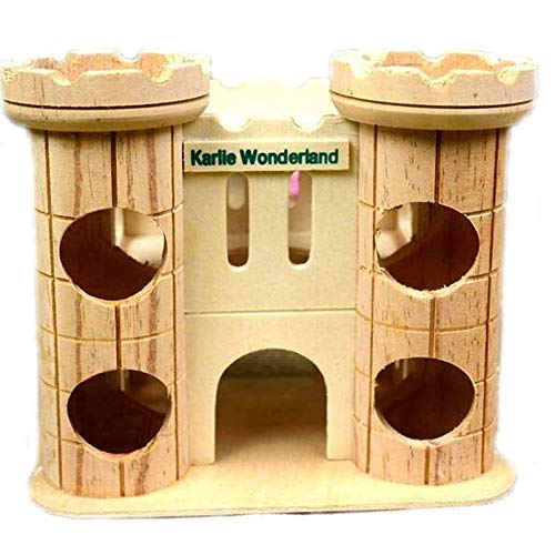 Dwarf Hamster House Wooden Tunnel Hut Mice Toys Wood Castle, Small Animal Playground Toy for Syrian Hamster