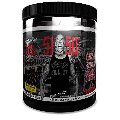 Rich Piana 5% Nutrition 5150 High Stimulant Pre-Workout Powder Supplement, 6 Caffeine Sources for Energy, Extreme Focus, N-Acetyl L-Tyrosine, Beta-Alanine, 30 Servings (Int'l Version) (Passion Fruit)