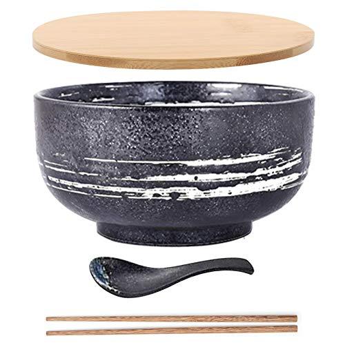 JSMY Cuenco de Fideos Vintage japonés con Cuchara de Tapa,Cuenco de Ramen de cerámica Cuenco de arroz Dibujado a Mano vajilla Retro Cuenco de Fideos de 6,5 Pulgadas