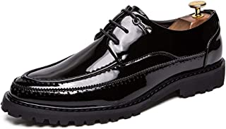 HongJie Hou Business Casual Patent Oxford Shoes for Men PU Leather Dress Wedding Fashion Loafers Solid Anti-Slip Flat Lace Up Round Toe (Color : Black, Size : 5.5 UK)