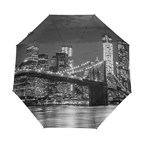 Paraguas de Viaje pequeño a Prueba de Viento al Aire Libre Lluvia Sol UV Auto Compacto 3 Pliegues Cubierta de Paraguas - Ciudad Noche Rascacielos Brooklyn Bridge Manhattan Skyline