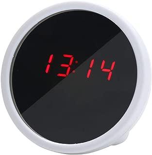 Dnasrivew Mini Desktop Digital Clock LED Display Mirror Electronic Noiseless Table Battery Operated Alarm Clock White