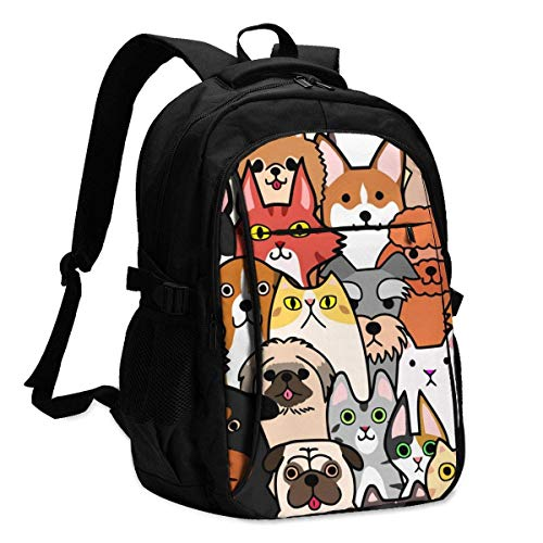 XCNGG Laptop Backpacks Tactical Seamless Doodle Dogs and Cats Faces Colorful Background Office & School Supplies with USB Data Cable and Music Jack Laptop Bags Computer Notebook 18.1X13.3 inch
