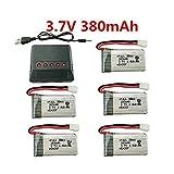 Fytoo 5PCS 3.7V 380mAh 25C Lipo batería y 5en1 Cargador para Hubsan...