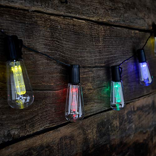 GloBrite 10 LED Solar Powered Edison Retro Bulb String Garden Hanging Lights (Colour)